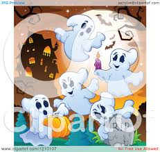 cartoon of halloween ghosts with a candle tombstone and pumpkin