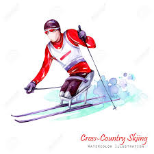 watercolor illustration cross country skiing disability snow
