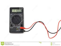 digital multimeter with and black wires shows 110 volts on lcd