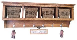 4 cubby wall shelf coat rack solid pine farmhouse wall