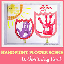Kids Handprint Crafts Little Family Fun Handprint Flower Scene Mother U0027s Day Card