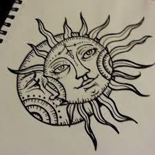 sun drawing moon design ink moon