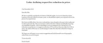 letter declining request for reduction in prices business letter