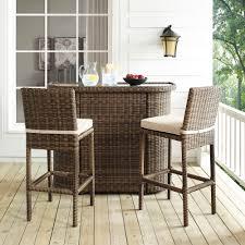 Crosley Furniture Outdoor Crosley Bradenton 3 Piece Outdoor Wicker Bar Set Bar U0026 Two