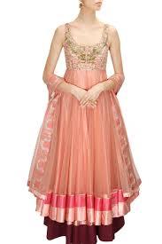 Peach Color by Pinkish Peach Color Anarkali Lehenga Set U2013 Panache Haute Couture