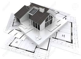 Residential Blueprints 3d Rendering Of A Residential Architecture Model On Top Of