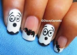 cute and easy ghost nail design nail art gallery
