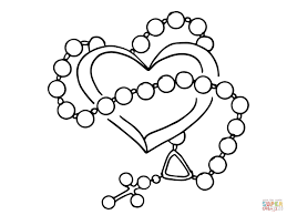 rosary with heart coloring page free printable coloring pages