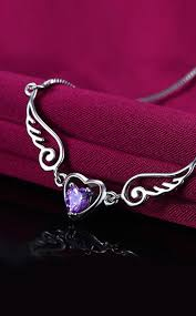 purple heart necklace images Angel wings necklace purple crystal heart shop our angel store jpg