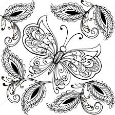 hand drawn butterfly and decorative leaves anti stress