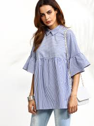 baby doll blouses pinstriped frill sleeve babydoll blouse shein sheinside