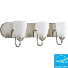 3 Light Bathroom Fixture by Progress Lighting North Park Collection 3 Light Brushed Nickel