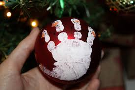 charming picture of hand print red baubles homemade snowman