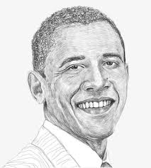 sketch american portrait painting by former president obama