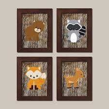 Raccoon Nursery Decor Woodland Nursery Prints Woodland Animals Prints Or Canvas