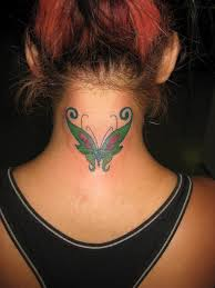 green butterfly on neck back in 2017 photo pictures