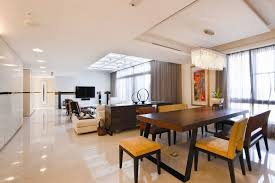 apartments nice wooden dining table modern living room with
