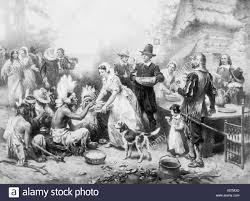 the pilgrims of new plymouth colony celebrate a thanksgiving