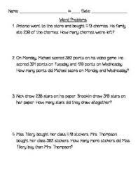 four triple digit word problems addition u0026 subtraction with