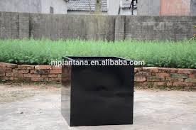 glazed black flower pots for home deco fiberglass square planter