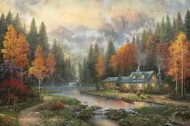 evening at autumn lake limited edition the kinkade