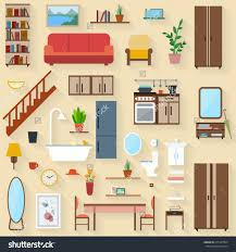 luxury home decor stores in delhi furniture set for rooms of house flat style vector illustration