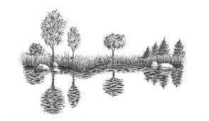 how to draw water in nature