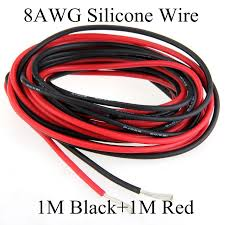 1m black 1m red 8awg flexible silicone wire gauge high temperature