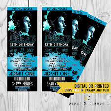 graphic design birthday invitations shawn mendes printable or printed birthday invitation ticket