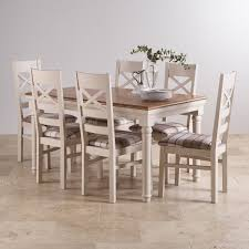 Painted Dining Room Set Shay Dining Table Set In Painted Oak 6 Brown Check Chairs