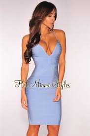 miami styles blue crisscross bandage dress