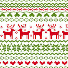 christmas pattern knit fabric back in stock fairisle reindeer pattern on white cotton jersey