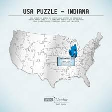 Indiana State Map Usa Map Puzzle One State One Puzzle Piece Indiana