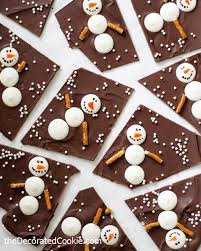christmas chocolate snowman chocolate bark for a sweet winter and christmas treat