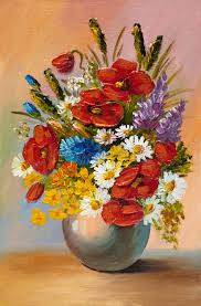 oil painting of spring flowers in a vase on canvas abstract stock ilration