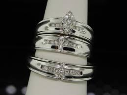 Trio Wedding Ring Sets by Sparkling Trio Marriage Rings Half Carat Round Cut Diamond On Gold