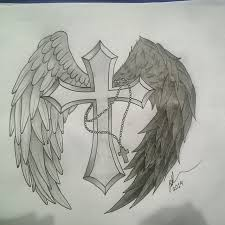 tattoo design light and dark angel wings cross by princessjade88