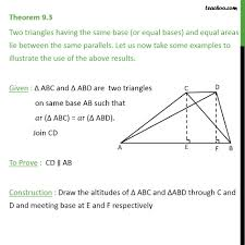 Area Of A Parallelogram Worksheet Theorem 9 3 Class 9 Triangles Having Same Base And Equal Areas Lie