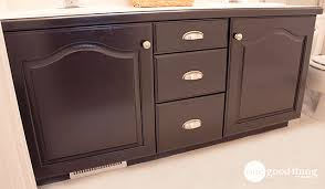 How To Redo Bathroom Cabinets Give Your Bathroom Vanity A Facelift One Good Thing By Jillee