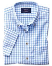 slim fit button down non iron poplin short sleeve sky blue gingham