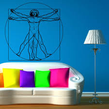 Free Shipping Leonardo Da Vinci Vitruvian Man Vinyl Wall Art