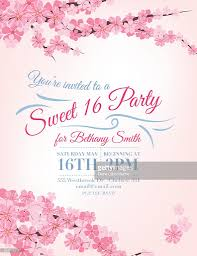 Sweet 16 Birthday Invitation Cards Cherry Blossoms Sweet 16 Birthday Party Invitation Template Vector