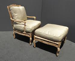 French Country Chair Cushions Vintage French Country Carved Wood Rye Accent Chair Ottoman W Down