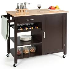 kitchen storage cabinet cart costway 4 tier wood kitchen island trolley cart storage cabinet w