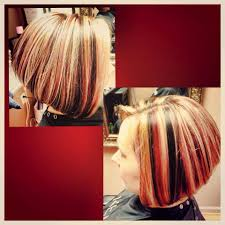 bolnde highlights and lowlights on bob haircut multi dimensional color red black and blonde highlight lowlight
