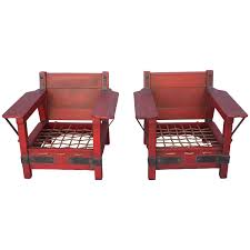 Monterey Bedroom Furniture by Pair Of Rare Red Classic Monterey Furniture Club Chairs