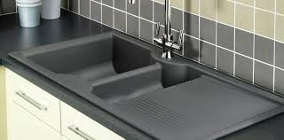 double kitchen sink composite with drainboard lunar lu9852