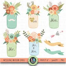 wedding flowers drawing jar clipart wedding jar clip pack vintage