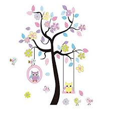 Owl Wall Decor by Lacedecal Charming Colorful Tree Decals With