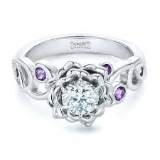amethyst engagement rings custom organic flower halo and amethyst engagement ring 102279